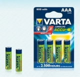 Varta Accu Rechargeable Batteries � Pack of 4 x AAA (800 mAh)