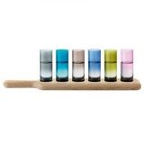LSA Paddle - Vodka Set Assorted Colour Glasses & Oak Paddle