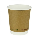 Vegware - Biodegradable 8oz Double Wall Brown Kraft Hot Cup (Pack 25)