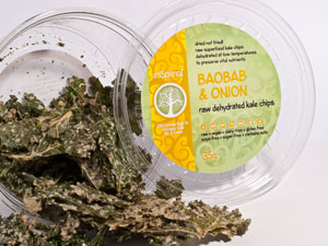 Raw Dehydrated Kale Chips - Baobab & Onion 35g